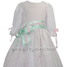 Nutcracker Costume for Clara Style 776 in cotton eyelet and pink silk