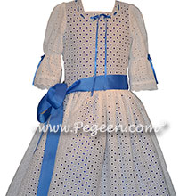 Nutcracker Dress for Clara Style 776 in cotton eyelet and blue trim