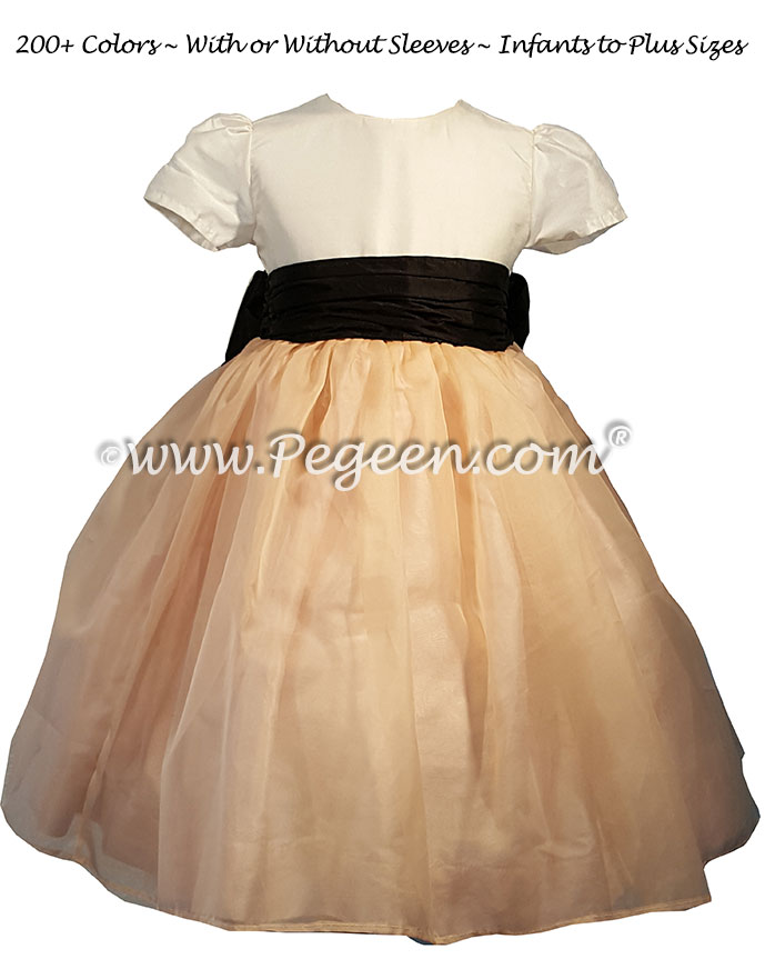 Pink Organza and Black Silk Flower Girl Dress for Toddler