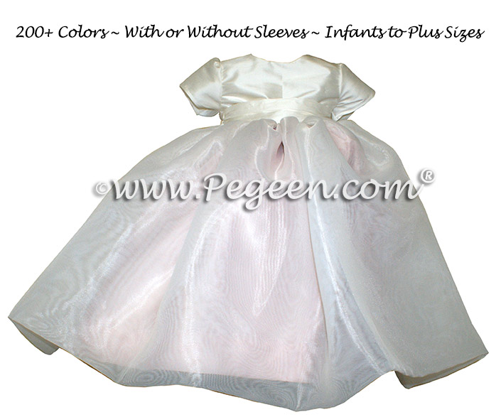 Pink and Ivory organza custom infant flower girl dress - Style 802