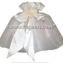 Pink silk infant flower girl dresses