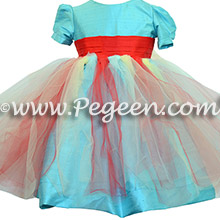 Infants Red, Yellow and Turquoise Silk flower girl dresses