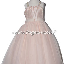 Blush Pink Swarovski Crystals and Silk flower girl dressses