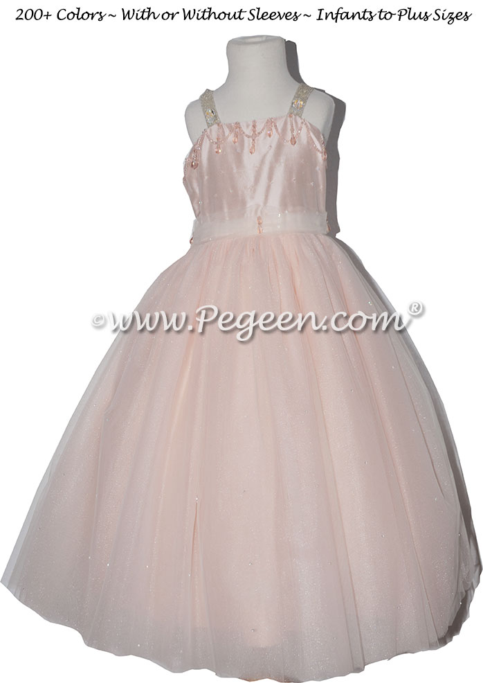Swarovski Crystals, Beaded Tulle and Silk Flower Girl Dresses in Blush Pink Style 904 Flower Girl Dress