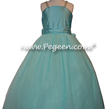 Tiffany Blue Silk and Tulle Flower Girl Dresses by PEGEEN
