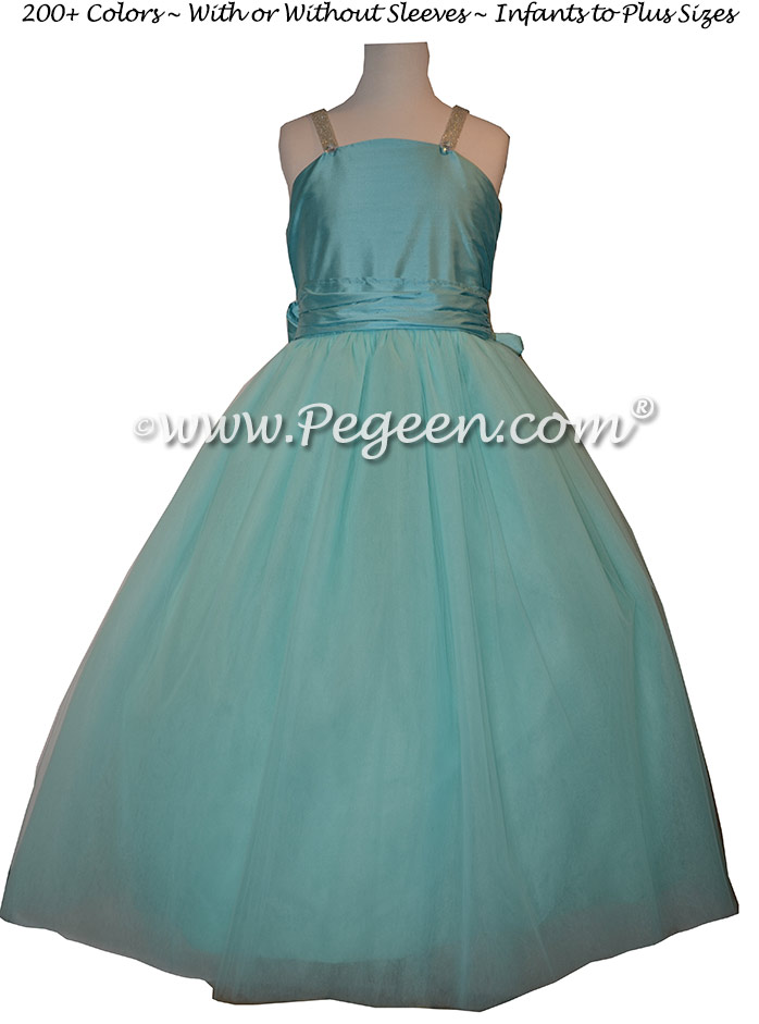 Flower Girl Dress in Tiffany Blue Silk and Tulle, Rhinestones | Pegeen