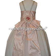 Ballet Pink and Ivory Rhinestone Strap Jr Bridesmaids Dress