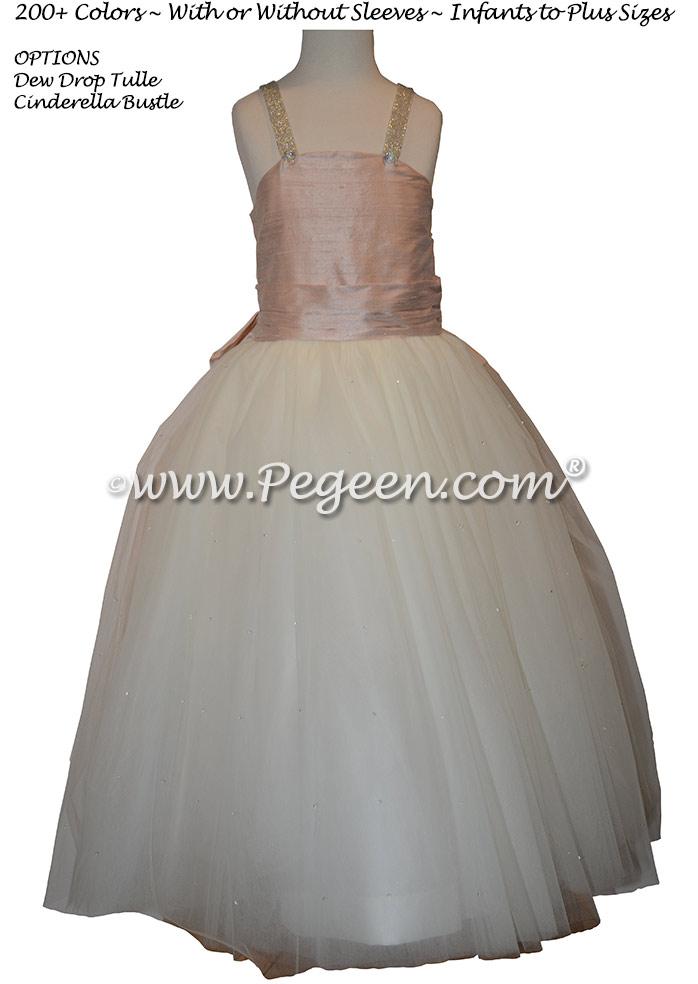 Jr Bridesmaids Dress in Ballet Pink and Rhinestone Strap   Pegeen