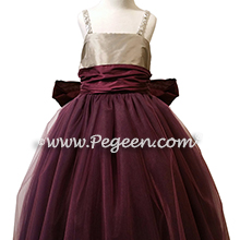 Flower Girl Dress in Eggplant and Platinum Silk and Tulle Style 909