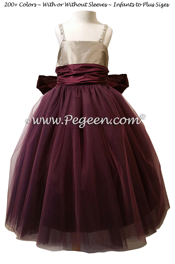 Flower Girl Dress in Eggplant and Platinum Silk and Tulle | Pegeen