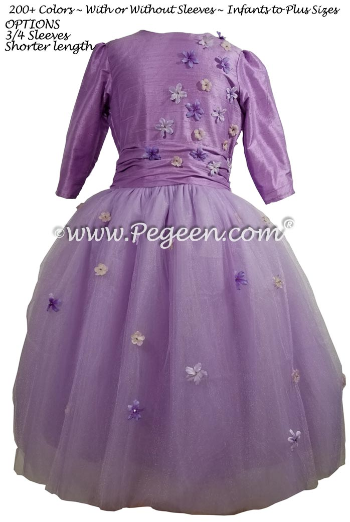 Amethyst Bat Mitzvah dress with shades of purple tulle