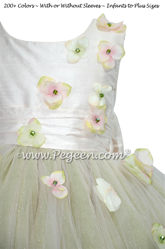 Flower Trimmed Blush Pink silk custom tulle flower girl dress Style 911