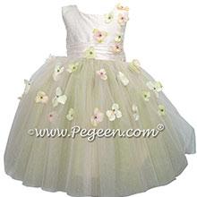 Flower Trimmed Blush Pink silk custom tulle flower girl dress