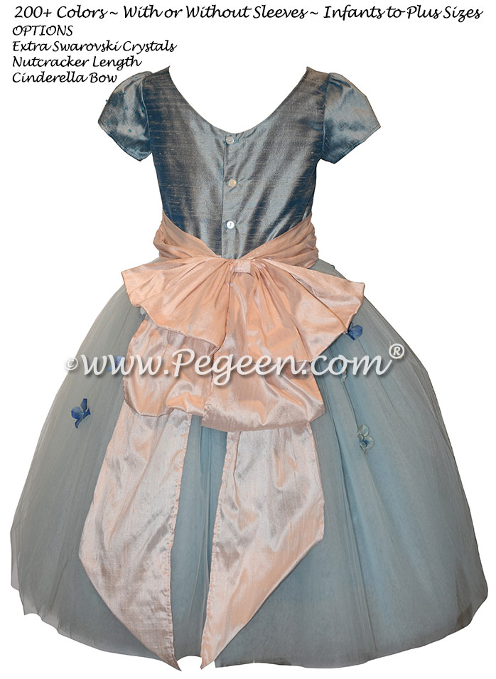 Caribbean Blue and Ballet Pink Silk flower girl dress with Swarovski Crystals
