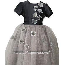 Flower Trimmed Charcoal Gray silk custom tulle flower girl dress