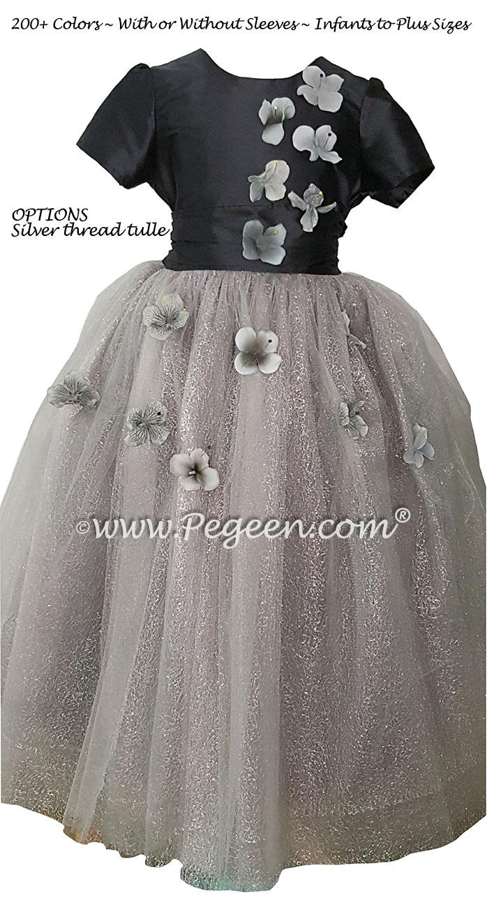 Flower Trimmed Charcoal Gray silk custom tulle flower girl dress Style 911