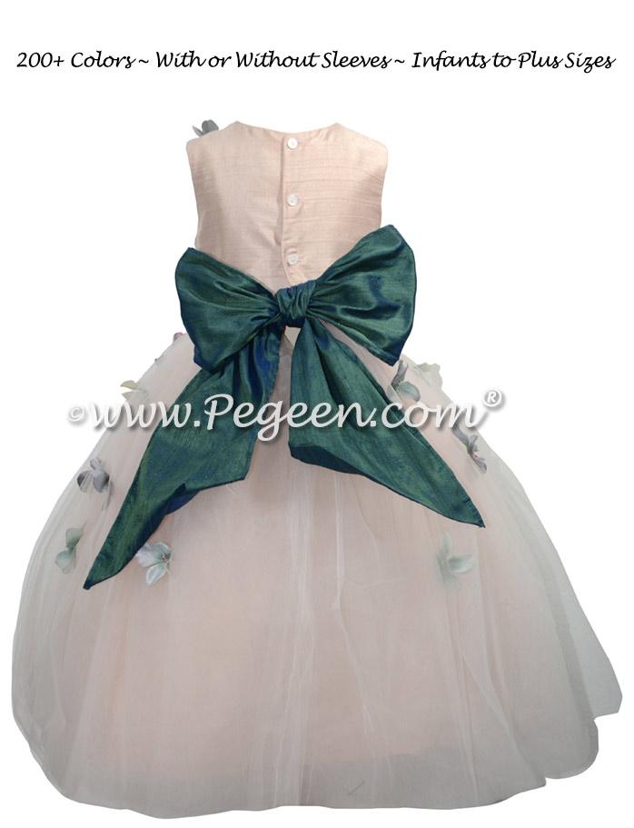 911 Hazel Blue and Pink Flower Girl Dress