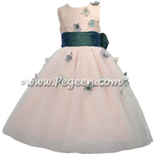 911 Hazel Blue and Pink Flower Girl Dress