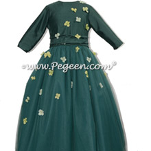 Long Sleeve Forest Green Jr Bridesmaids Dress