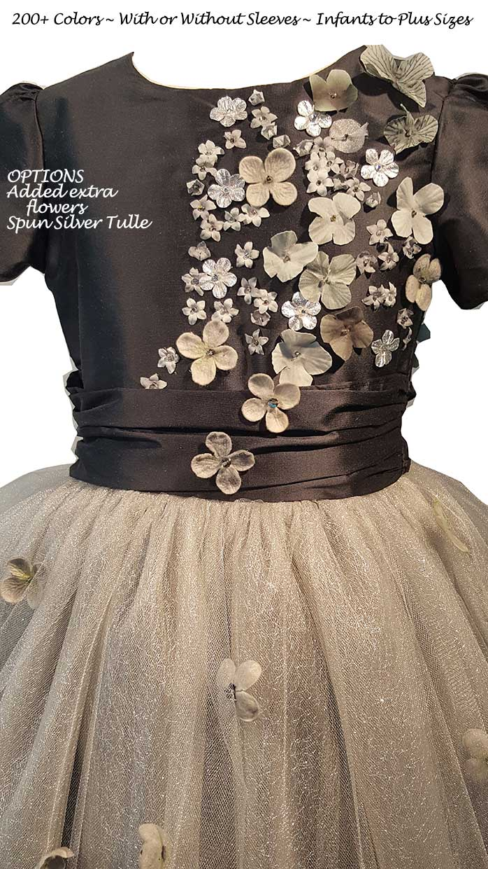 Medium Gray Silk and Tulle flower girl dresses | Pegeen