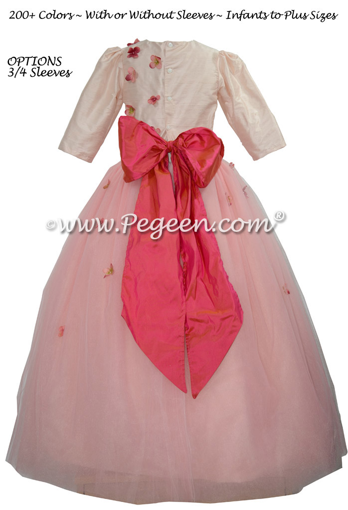 911 Gumdrop Pink Flower Girl Dress with 3/4 Sleeves