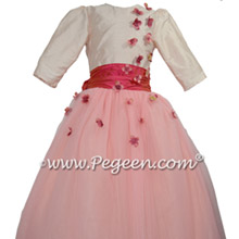Style 911 in gumdrop tulle skirt flower girl dress for Jewish Wedding