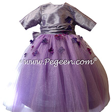Purple Embroidered Tulle and Crystal Silk flower girl dresses