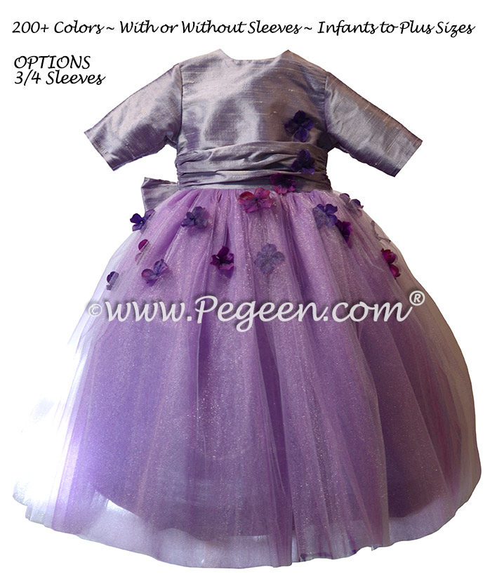 Purple Embroidered Tulle and Crystal Silk flower girl dresses Style 911