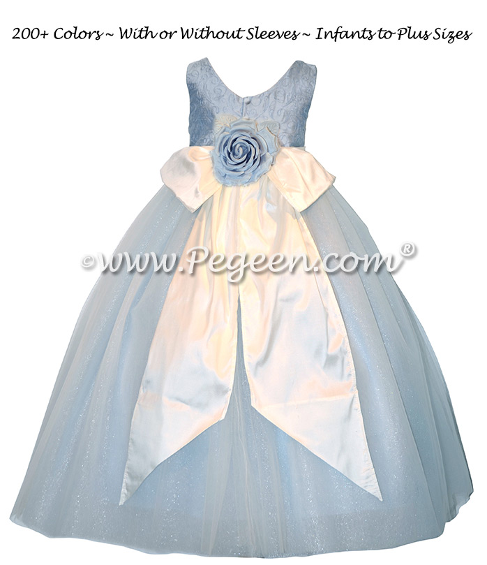 Ice Blue Embroidered Silk Flower Girl Dresses with spun silver tulle
