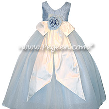 Custom silk ice blue flower girl dresses Style 915 for Tara Lipinski