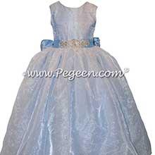Blue Swarovski Crystals, Rhinestones and Tulle flower girl dresses