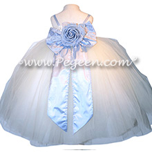 Custom silk ivory and ice blue flower girl dresses Style 919 for Tara Lipinski