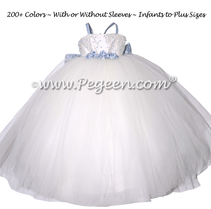Ivory Embroidered Silk Flower Girl Dresses with fluffy tulle