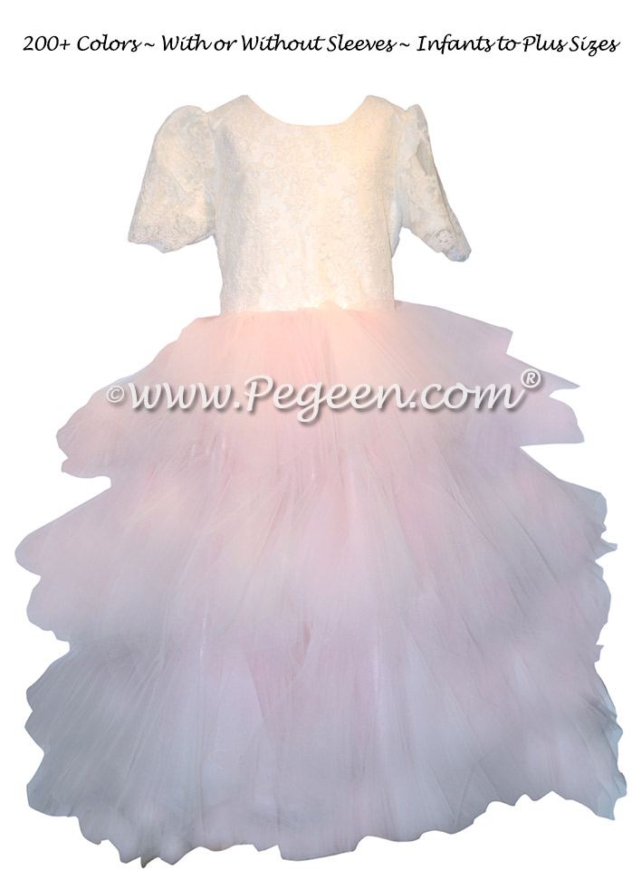 Custom Pink Fluffy Tulle Skirt with Aloncon Lace in New Ivory Silk Flower Girl Dresses