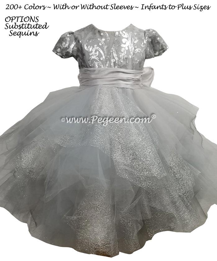 Custom Silver Fluffy Tulle Skirt with Sequined Top Flower Girl Dress