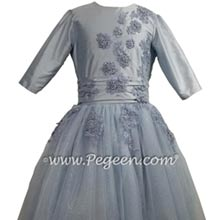 3/4 Sleeve Ice Blue Jr Bridesmaids Dress