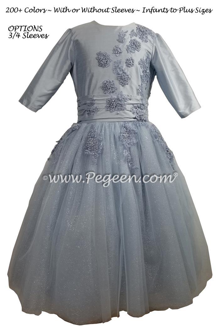 3/4 Sleeve Ice Blue Jr Bridesmaids Dress