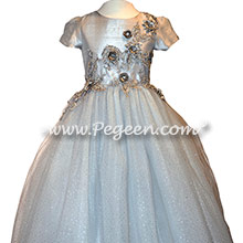 Platinum and Silver 3-Dimentional Tulle and Silk flower girl dresses