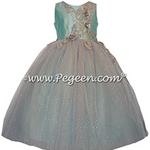 Pond Blue and Silver tulle with appliqued bodice on flower girl dress | Pegeen