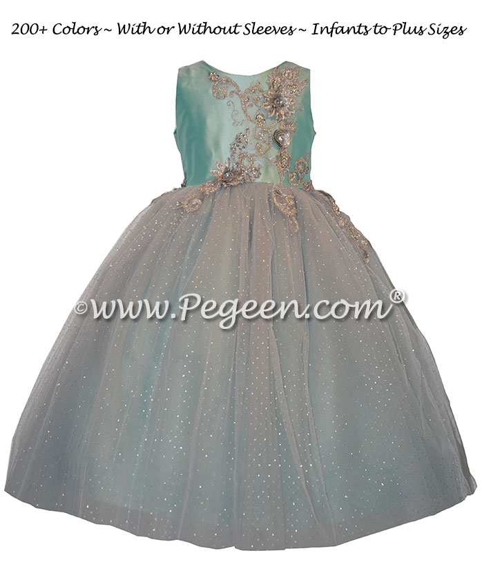 Pond Blue and Silver tulle with appliqued bodice on flower girl dress Style 922