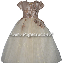 Custom Gold Lace and Toffee Trimmed Silk Flower Girl Dresses