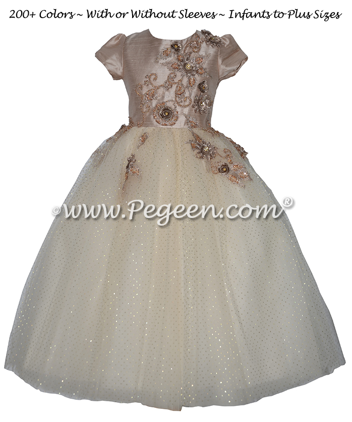 Toffee and Gold 3-Dimentional Embroidered Silk flower girl dresses
