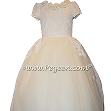 Bisque and New Ivory 3-Dimentional Lace Embroidered Silk flower girl dresses