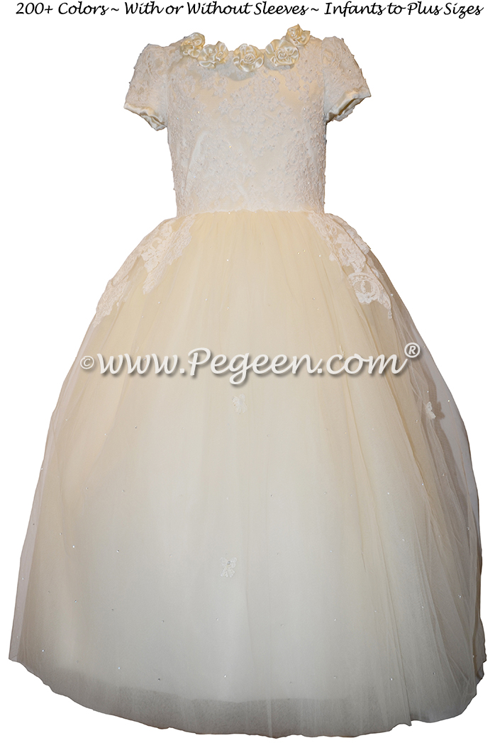 Bisque and New Ivory 3-Dimensional Lace Embroidered Silk flower girl dresses