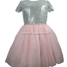 Pink and Silver Sequined tulle & silk Jr Bridesmaids dress