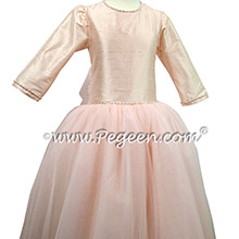 Baby Pink Jr Bridesmaid dress with 3/4 sleeves