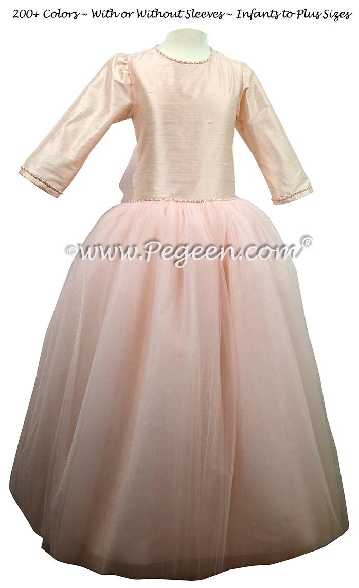 Baby Pink Jr Bridesmaid dress with 3/4 sleeves