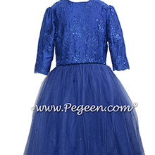 Royal Blue and Crystal Sapphire Tulle Bat Mitzvah Dress