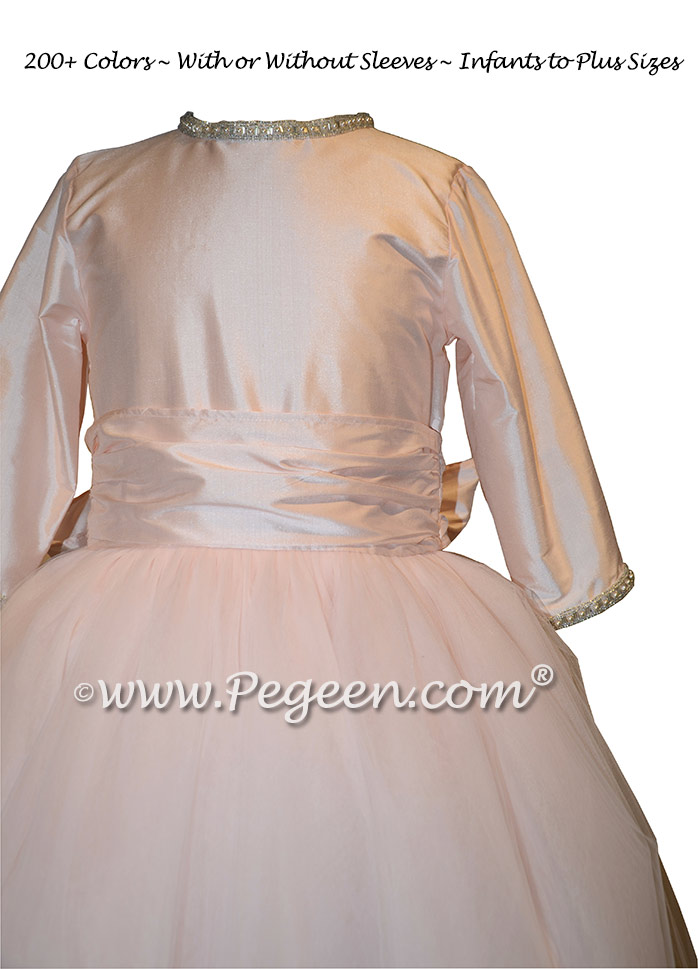 Champagne Pink and Rhinestone Trimmed Jr. Bridesmaids Dresses