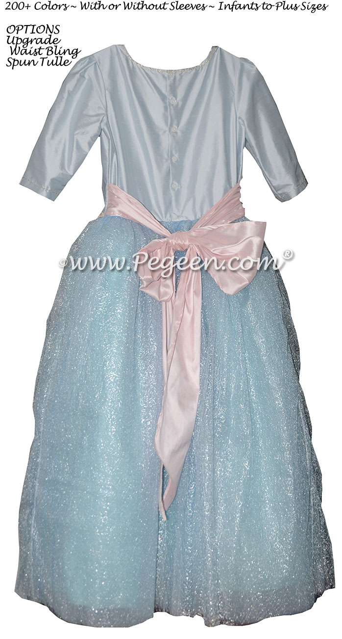 Ice Blue and Rhinestone Bling Belt with tulle flower girl dresses